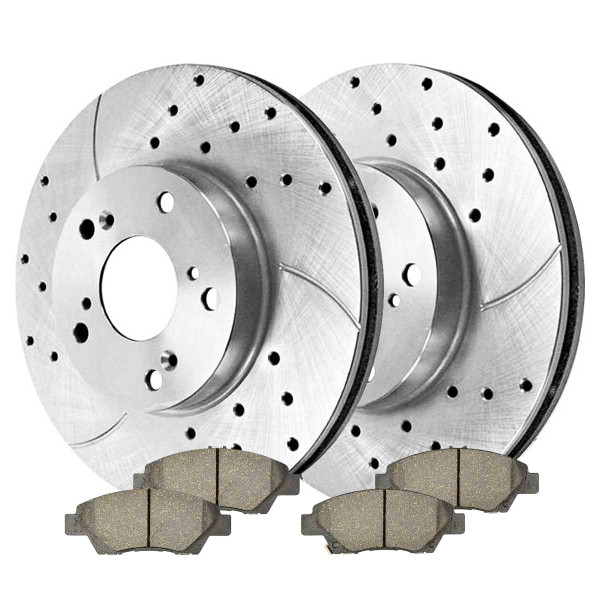 Front Ceramic Brake Pad and Performance Drilled and Slotted Rotor Bundle - Part # BRKPKG004018