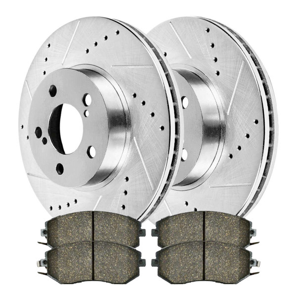[Front set] 3 Pieces - 1 Ceramic Brake Pad 2 Silver Drilled And Slotted Performance Brake Rotors - Part # BRKPKG004024