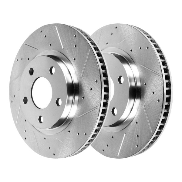 Front Performance Drilled Slotted Disc Brake Rotors Silver and Performance Ceramic Pads Kit - Part # BRKPKG004025