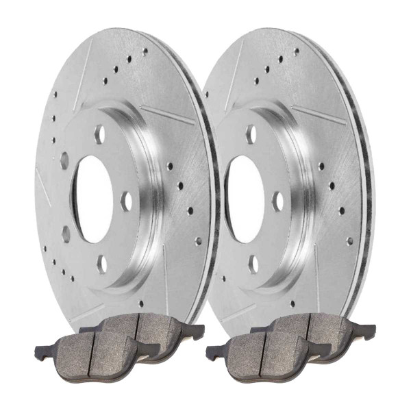 Front Ceramic Brake Pad and Performance Drilled and Slotted Rotor Bundle - Part # BRKPKG004037