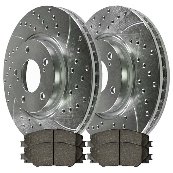 Front Ceramic Brake Pad and Performance Drilled and Slotted Rotor Bundle - Part # BRKPKG004044