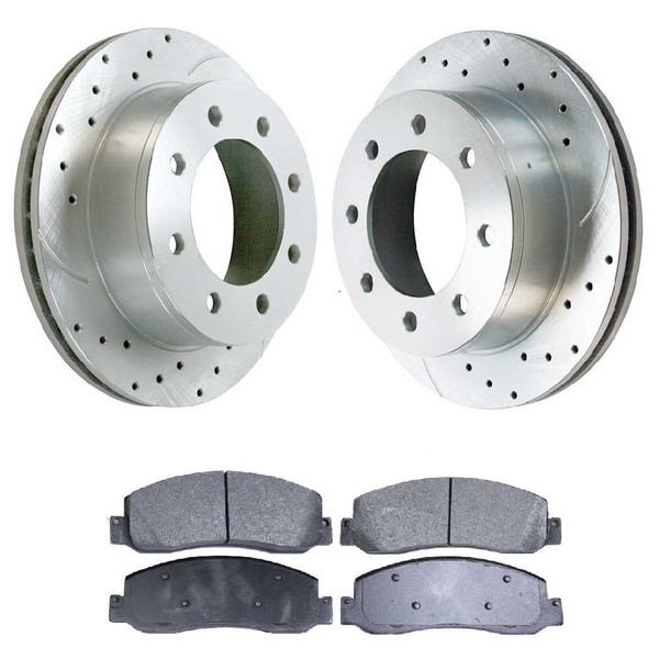 [Front set] 3 Pieces - 1 Semimet Disc Pad 2 Silver Drilled And Slotted Performance Brake Rotors - Part # BRKPKG004080