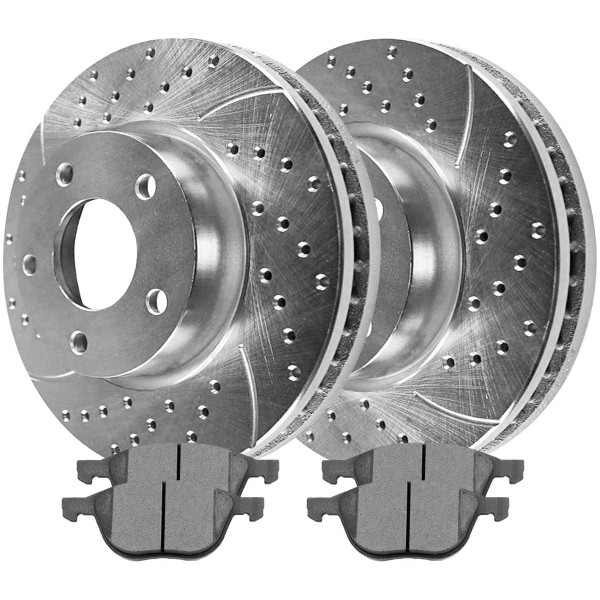 Front Ceramic Brake Pad and Performance Drilled and Slotted Rotor Bundle - Part # BRKPKG004105