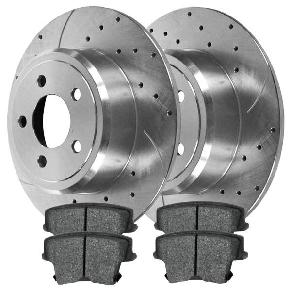 [Rear] Silver Performance Drilled&Slotted Rotors w/Ceramic Pads Set - Part # BRKPKG004106