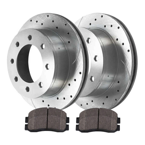 [Front set] 3 Pieces - 1 Ceramic Brake Pad 2 Silver Drilled And Slotted Performance Brake Rotors - Part # BRKPKG004108
