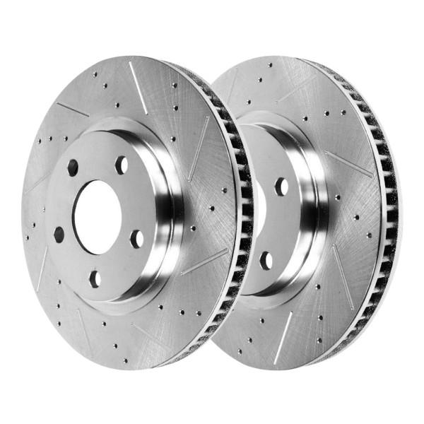 Front Performance Drilled Slotted Disc Brake Rotors Silver and Ceramic Pads Kit - Part # BRKPKG004116
