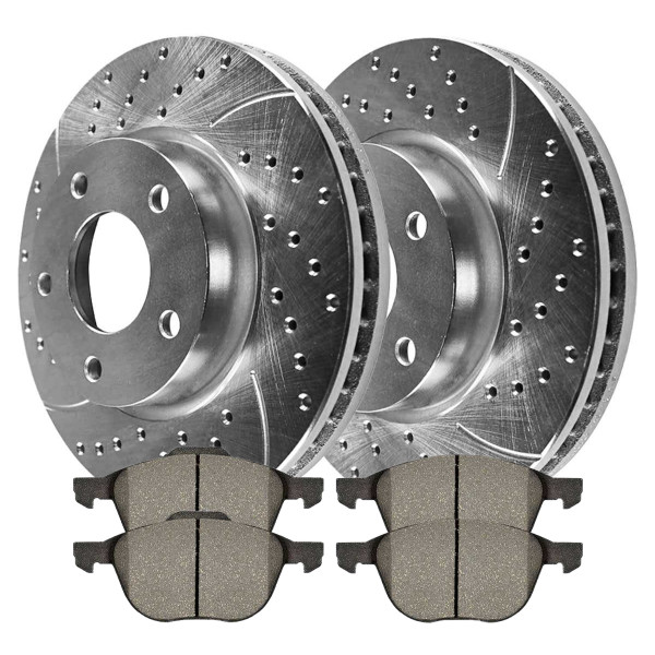 Front Semi Metallic Brake Pad and Performance Rotor Bundle - Part # BRKPKG004157