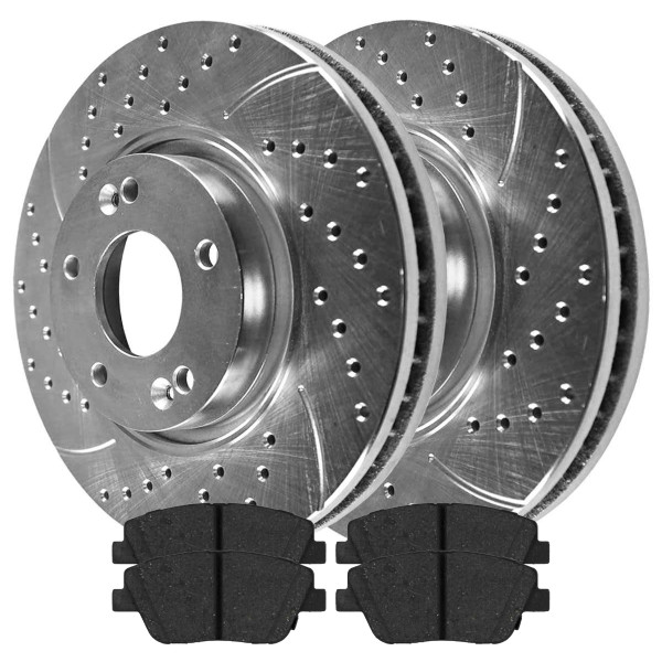 Front Ceramic Brake Pad and Performance Rotor Bundle - Part # BRKPKG004161