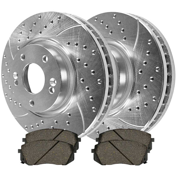 Front Ceramic Brake Pad and Performance Drilled and Slotted Rotor Bundle - Part # BRKPKG004175