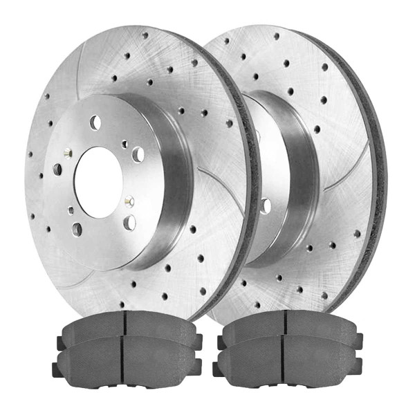 Front Semi Metallic Brake Pad and Performance Drilled and Slotted Rotor Bundle - Part # BRKPKG004183