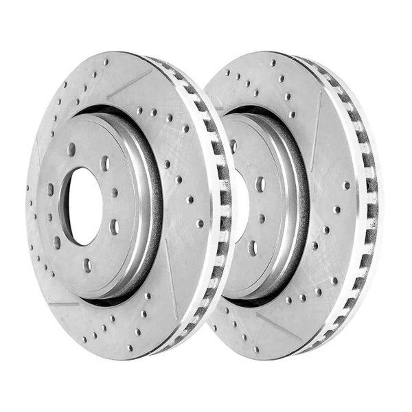 Front Performance Drilled Slotted Brake Rotors Silver and Ceramic Pads Kit, Driver and Passenger Side - Part # BRKPKG004188