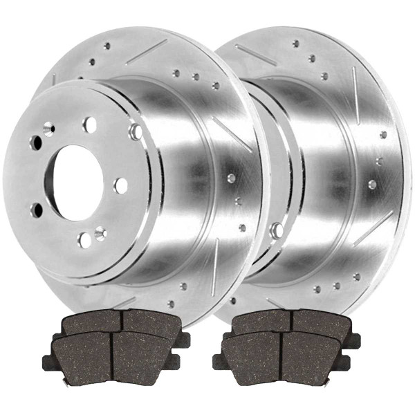 Rear Ceramic Brake Pad and Performance Drilled and Slotted Rotor Bundle - Part # BRKPKG004244