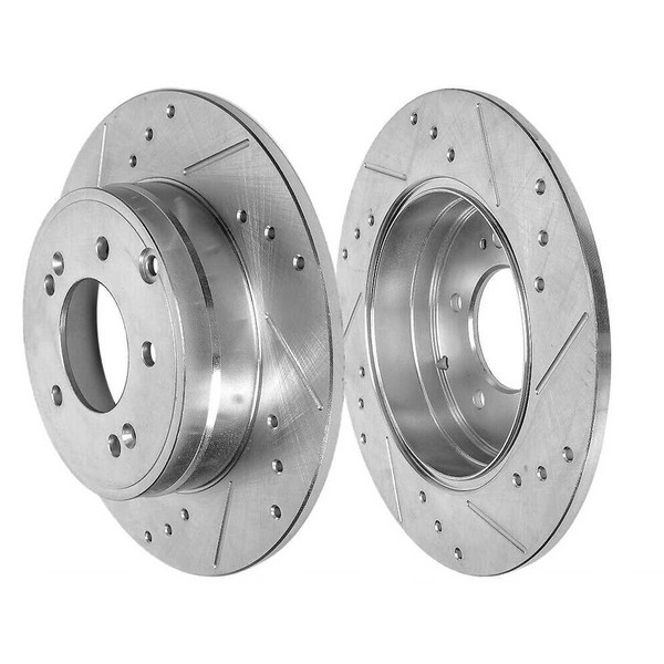 Rear Drilled and Slotted Brake Rotors and Ceramic Pads for 2011-2012 Kia Optima - Part # BRKPKG004244