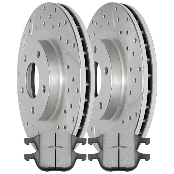 Front Semi Metallic Brake Pad and Performance Rotor Bundle - Part # BRKPKG004302