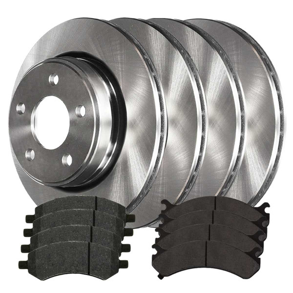 2 Complete Front & Rear Pair 4 Rotors and 8 Performance Ceramic Pads - Part # BRKPKG0061