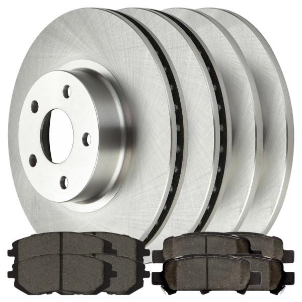 Front and Rear Ceramic Brake Pad and Rotor Bundle - Part # BRKPKG0349