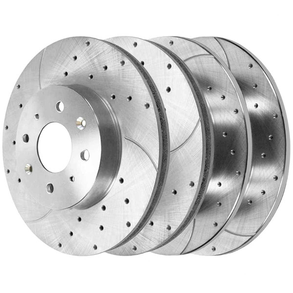 Front and Rear Performance Drilled and Slotted Brake Rotor Bundle Silver - Part # BRKPKG039015