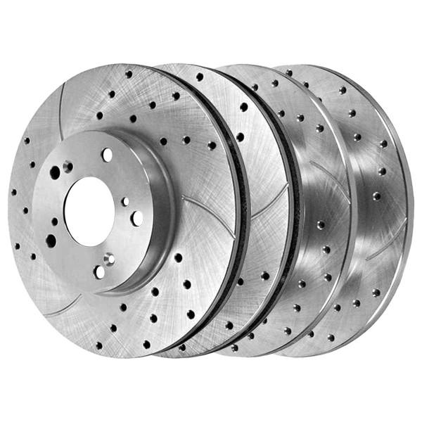Front and Rear Performance Brake Rotor Bundle Silver - Part # BRKPKG039167