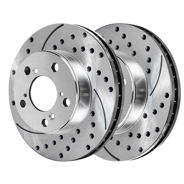 Front and Rear Ceramic Brake Pad and Performance Rotor Bundle 11.1 Inch Front Rotor Diameter - Part # BRKPKG039482
