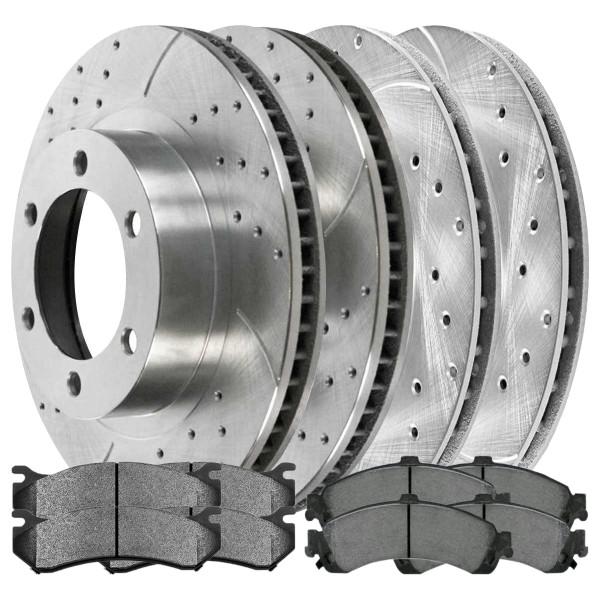 Sets of Performance Silver Brake Rotors and Semi Metallic Pads - Part # BRKPKG039523
