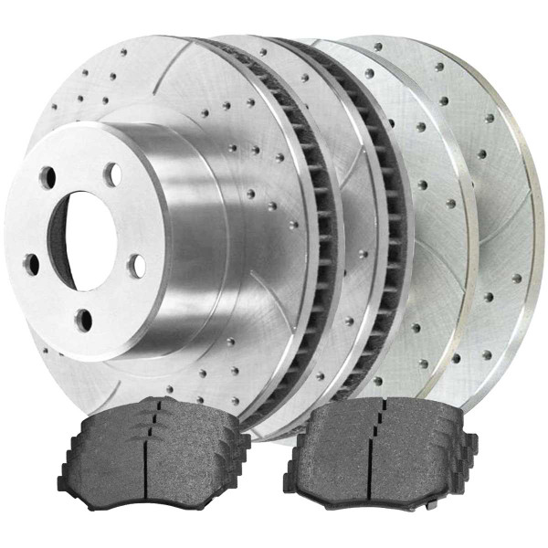 Sets of Performance Silver Brake Rotors and Semi Metallic Pads - Part # BRKPKG039539