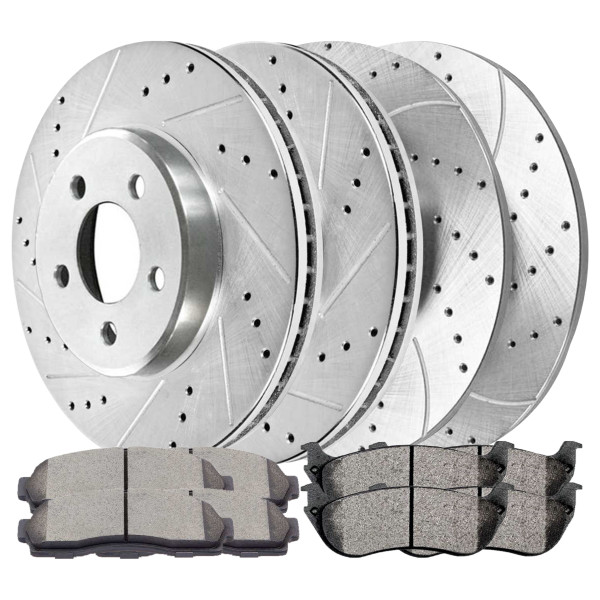Sets of Performance Silver Brake Rotors and Semi Metallic Pads - Part # BRKPKG039559