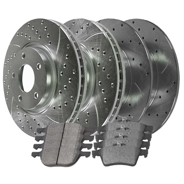 [Front & Rear set] 6 Pieces - 2 Semimet Pads 4 Silver Drilled And Slotted Performance Brake Rotors - Part # BRKPKG039595