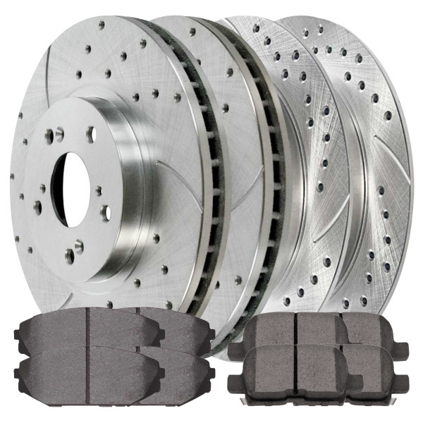 [Front & Rear set] 6 Pieces - 2 Semimet Pads 4 Silver Drilled And Slotted Performance Brake Rotors - Part # BRKPKG039606