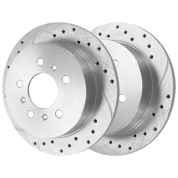 Front and Rear Ceramic Brake Pad and Performance Drilled and Slotted Rotor Bundle - Part # BRKPKG039663