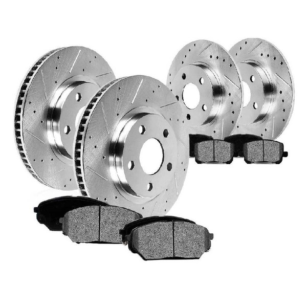 Front & Rear Set of Silver Drilled And Slotted Performance Brake Rotors - Part # BRKPKG039738