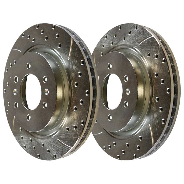 Front and Rear Semi Metallic Brake Pad and Performance Drilled and Slotted Rotor Bundle 6 Stud - Part # BRKPKG039818