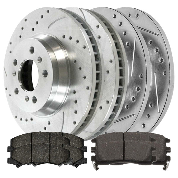 Drilled & Slotted Silver Performance Rotors w/Metallic Pads - Part # BRKPKG039848