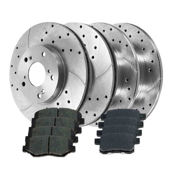 Sets of Performance Silver Brake Rotors and Semi Metallic Pads - Part # BRKPKG039906