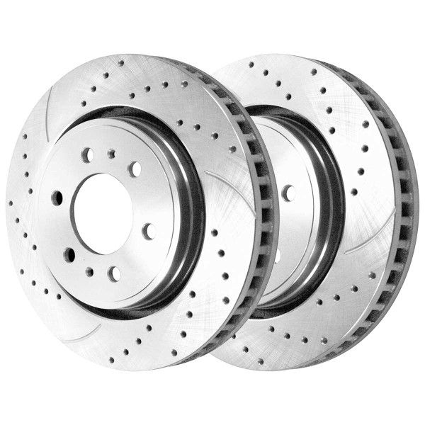 Front and Rear Ceramic Brake Pad and Performance Drilled and Slotted Rotor Bundle 6 Stud - Part # BRKPKG039993