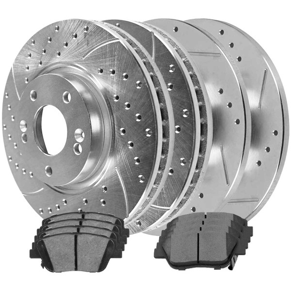Front and Rear Ceramic Brake Pad and Performance Rotor Bundle - Part # BRKPKG040144