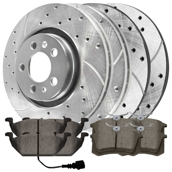 [Front & Rear set] 6 Pieces - 2 Semimet Pads 4 Silver Drilled And Slotted Performance Brake Rotors - Part # BRKPKG040259
