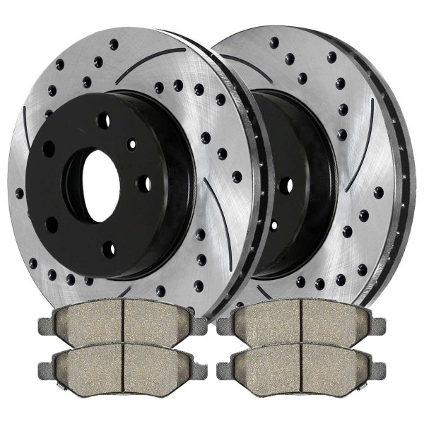 Rear Ceramic Brake Pad and Performance Drilled and Slotted Rotor Bundle 12.4 Inch Rotor Diameter - Part # BRKPKG0411