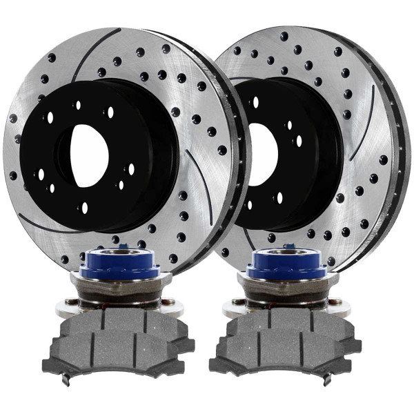 Front Set of Hub Bearings, Performance Rotors & Pads - Part # BRKPKG0650