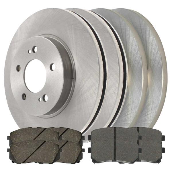 [Front & Rear Set] 4 Brake Rotors & 2 Sets Ceramic Brake Pads - Part # BRKPKG0749