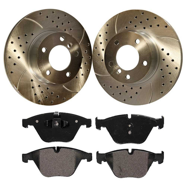 [Front set] 3 Pieces - 1 Semimet Disc Pad 2 Silver Drilled And Slotted Performance Brake Rotors - Part # BRKPKG0906