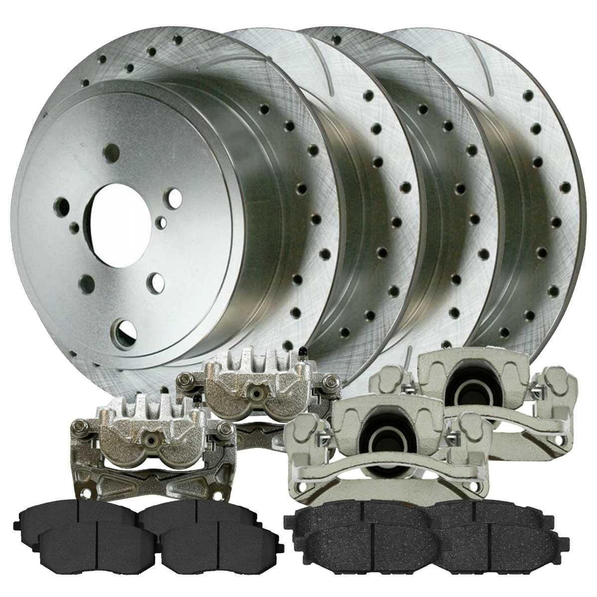 Rear Drilled Slotted Brake Rotors Calipers Metallic Pads for 13-14 GMC Yukon