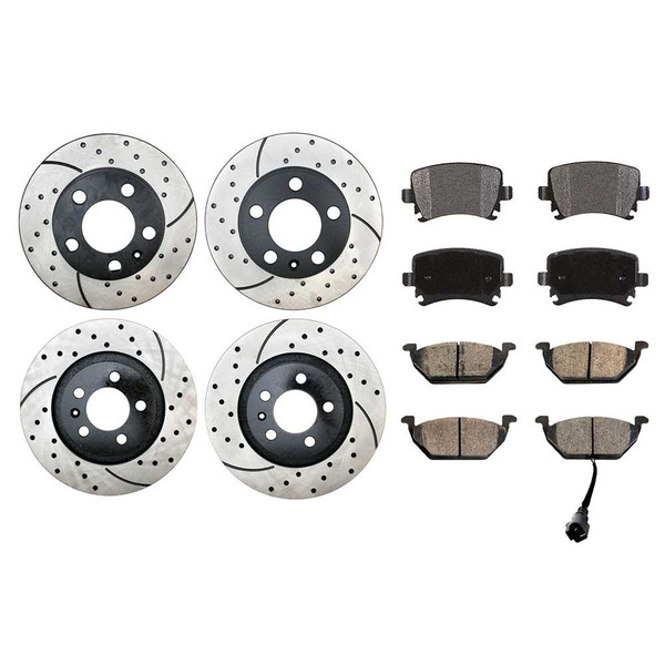Full Set of Performance Rotors & Ceramic Pads - Part # BRKPKG1037
