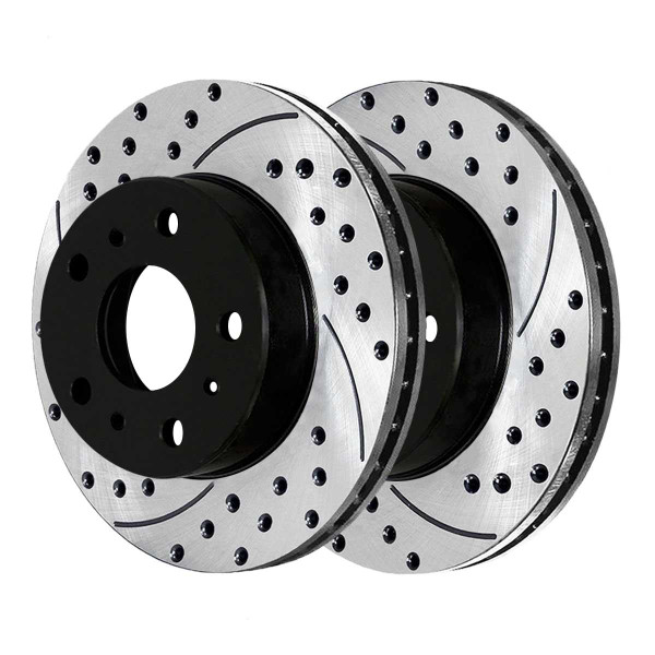 Front and Rear Performance Drilled and Slotted Brake Rotor Bundle - Part # BRKPKG1056