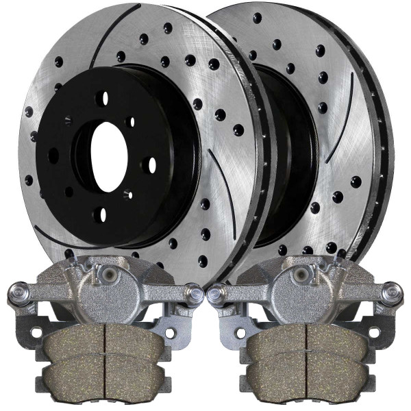 Front Pair of Brake Calipers Performance Brake Pads and Performance Rotors - Not Rebuilt -No Core - Part # BRKPKG626