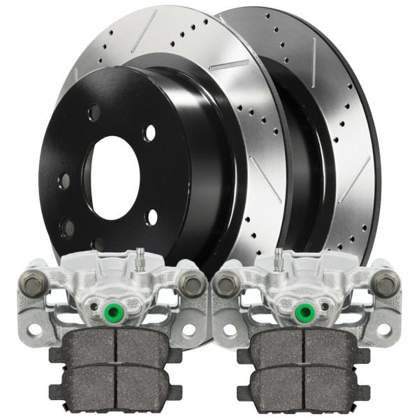 [Rear set] 2 Brake Calipers 1 Ceramic Brake Pad 2 Performance Rotors - Part # BRKPKG630