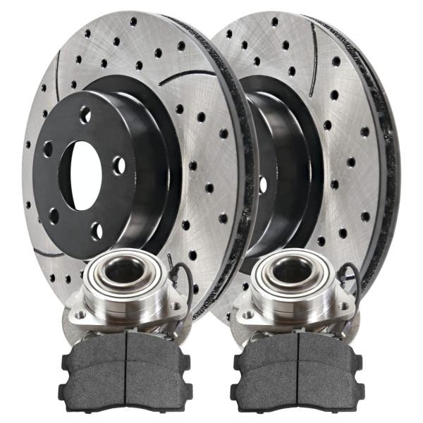 [Rear Set] 2 Brake Rotors & 1 Set Ceramic Brake Pads & 2 Wheel Hub Bearing Assemblies - Part # BRKPKG637