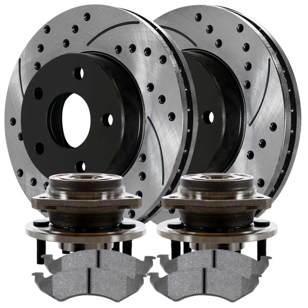 New Front Drilled Slotted Brake Rotors & Ceramic Pads & Hub Bearings - Part # BRKPKG667