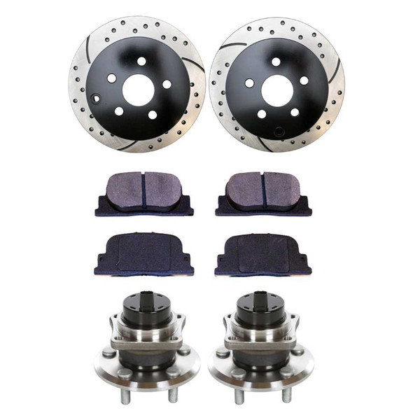 Rear Set of Performance Rotors, Pads and Hub Bearings - Part # BRKPKG699