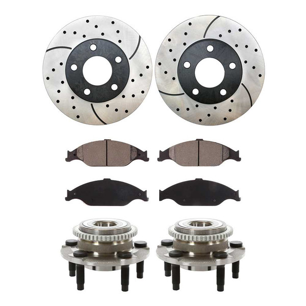 [Front Set] Performance Rotors, Ceramic Pads & Hub Bearings - Part # BRKPKG732