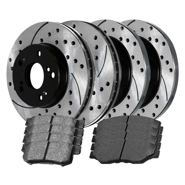 Front and Rear Ceramic Brake Pad and Performance Rotor Bundle - Part # BRKPKG754